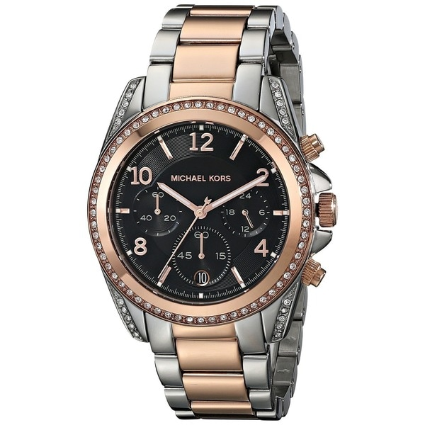 Michael Kors Women's MK6093 'Blair' Chronograph Black Dial Two Tone Stainless Steel Watch