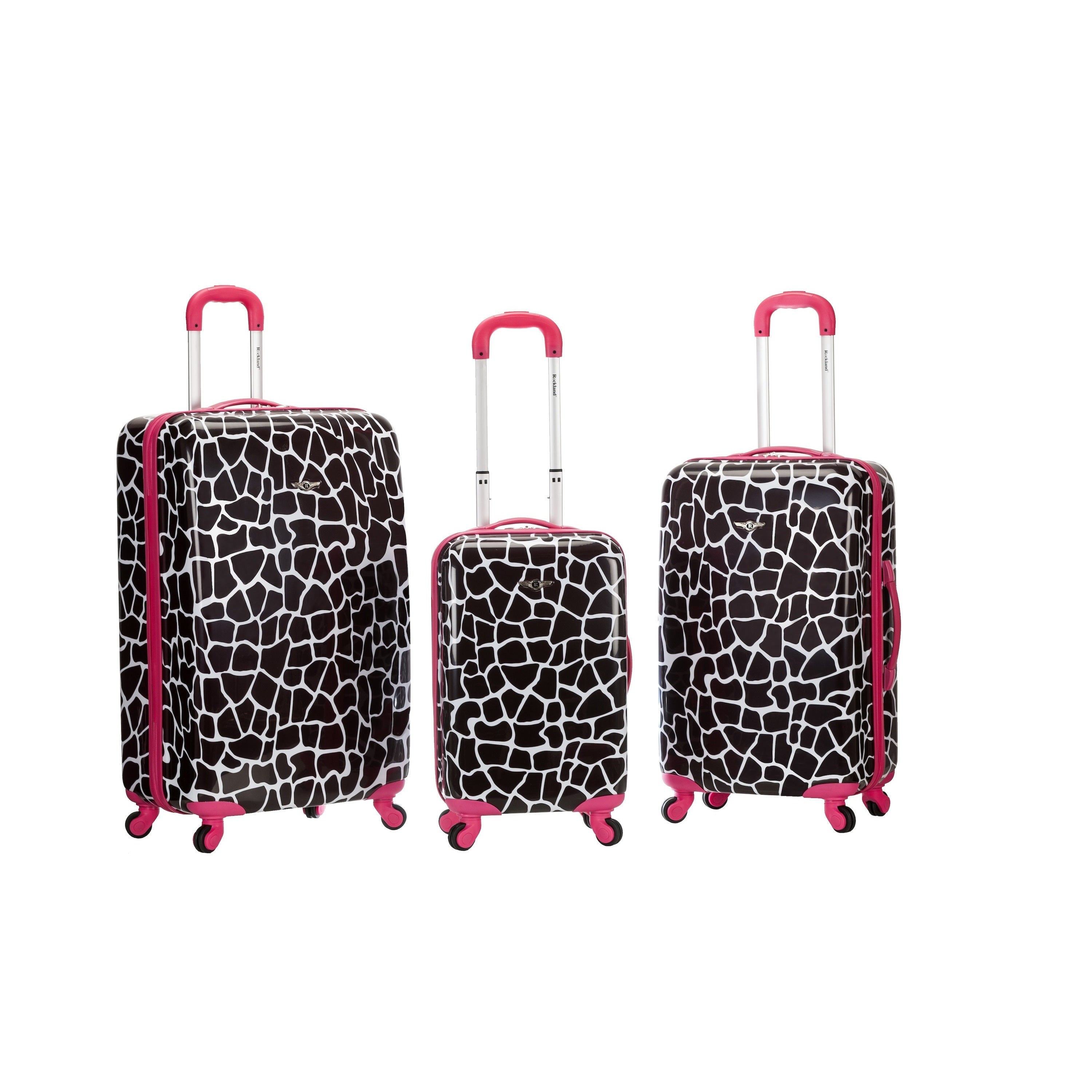 Rockland Pink Giraffe 3-piece Lightweight Hardside Spinner Luggage Set