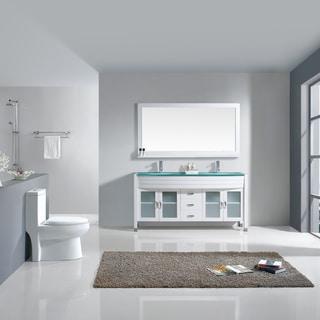 Virtu USA Ava 63-inch White Double Sink Vanity Cabinet Set
