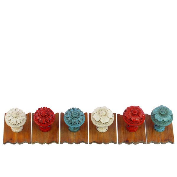 Assorted Color Resin/ Wood Wall Hooks (Set of 6)