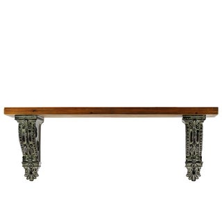 Stained Wood Finish Wood Wall Mount Shelf with Molded Resin Corbels