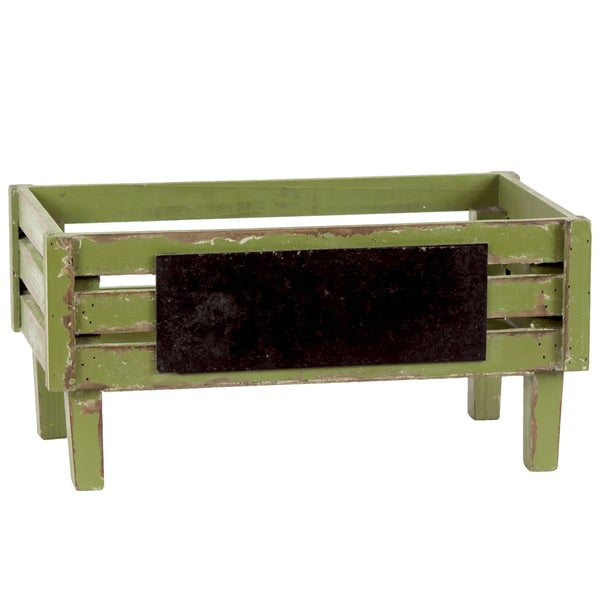 Distressed Yellow Green Wooden Crate with Black Rectangular Label Small