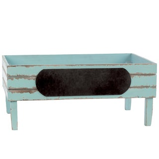 Light Blue Wooden Crate with Black Stadium Label Large Distressed