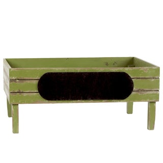 Distressed Yellow Green Wooden Crate with Black Stadium Label Large