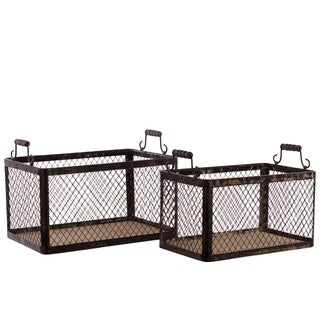 Distressed Black Wood Basket with Metal Handles and Screen Sides (Set of 2)