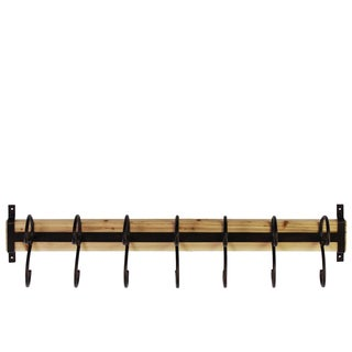 Natural Wood Finish Wood Coat Hanger with Metal Brace and 14 Hooks