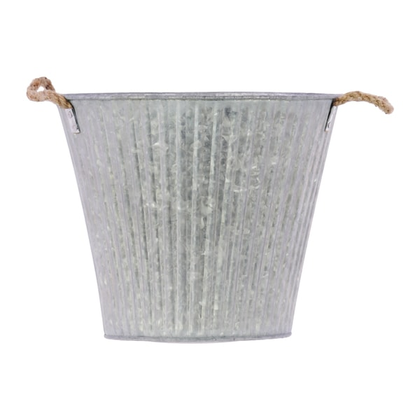 Galvanized Zinc Metal Bucket with Rope Handles Ribbed