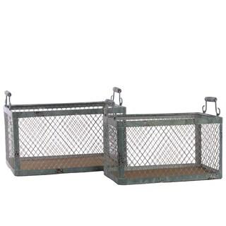 Dark Slate Grey Wood Basket with Metal Handles and Screen Sides (Set of 2)