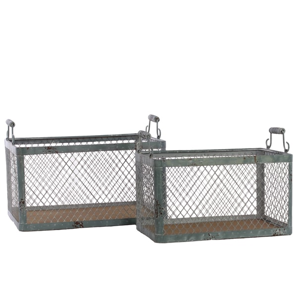 Dark Slate Grey Wood Basket with Metal Handles and Screen Sides (Set of 2)