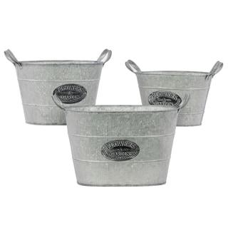 Galvanized Zinc Metal Bucket with Metal Handles (Set of 3)