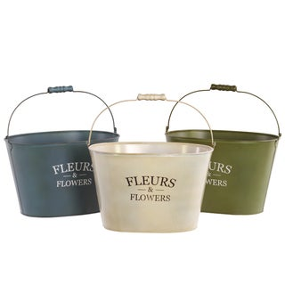 Assorted Color Metal Planter with Wood Handle (Set of 3)