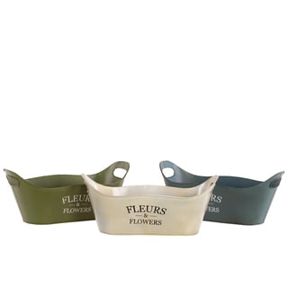 Assorted Color Metal Planter with Handles (Set of 3)