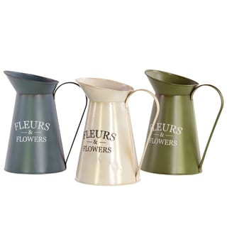 Assorted Color Metal Pitchers (Set of 3)
