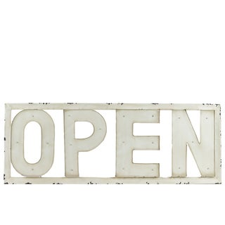 Antique White Metal Open Sign Wall Decor with LED Lights