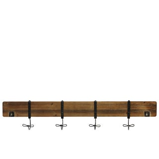 Natural Wood Finish Wooden Coat Hanger with 4 Metal Hooks