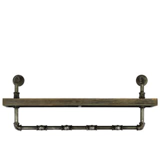 Bronze Metal Hanger Plumbing Theme with Wood Plank Shelf