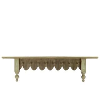 Natural Wood Finish Wood Shelf with 8 Hooks
