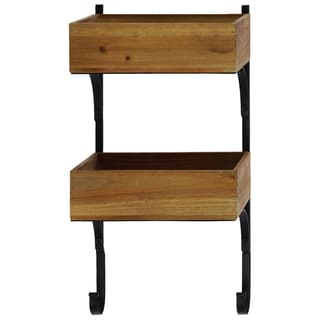 Natural Wood Finish Wood Wall Shelf with Metal Braces and 2 Tiers