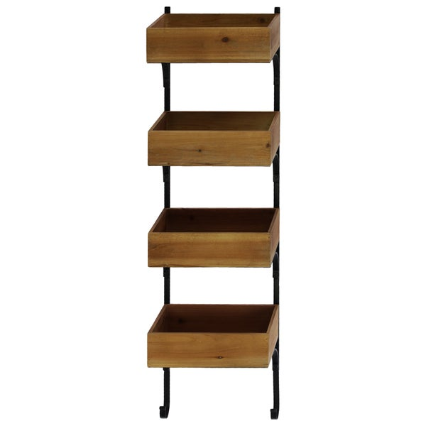 Natural Wood Finish Wood Wall Shelf with Metal Braces and 4 Tiers