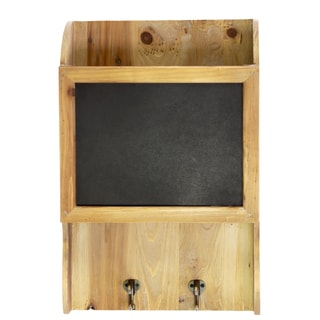 Natural Wood Finish Wooden Wall Shelf with Top Compartment, Blackboard and 2 Hooks