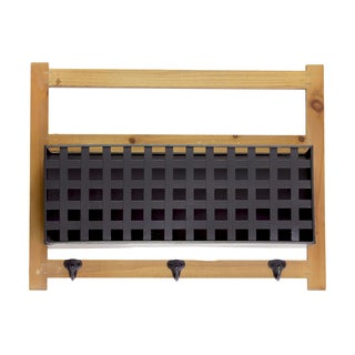 Natural Wood Finish Wood Cabinet with Metal Door and 3 Hooks