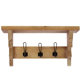 Natural Wood Finish Wooden Wall Shelf with Corbels and 3 Hooks