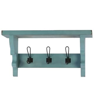 Light Blue Wooden Wall Shelf with Corbels and 3 Hooks