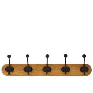 Varnished Wood Finish Wood Hanger with 10 Metal Hooks Large