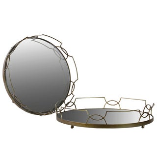 Gold Metal Tray with Metal Handles and Round Mirror Base (Set of 2)