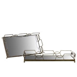 Gold Metal Tray with Metal Handles and Rectangular Mirror Base (Set of 2)