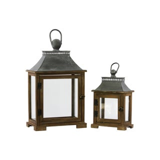 Stained Wood Finish Wood Lantern with Metal Top and Ring Handle (Set of 2)
