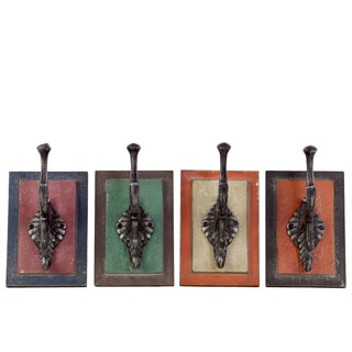 Assorted Color Metal Coat Hanger with Wood Wall Mount (Set of 4)