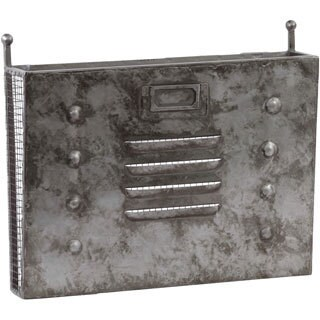 Galvanized Zinc Metal Wall Mail Organizer with Mesh Backing and Shelf