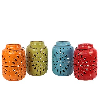 Assorted Color Ceramic Antique Lantern with Metal Handle (Set of 4)