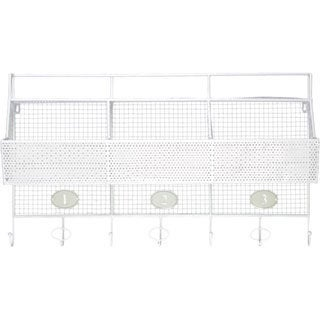 White Metal Shelf and Coat Hanger with Mesh Backing, 3 Numbered Shelves and 5 Hooks