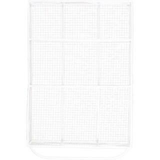 White Metal Mesh Backing Wall Shelf with 9 Shelves and Hanger Bar