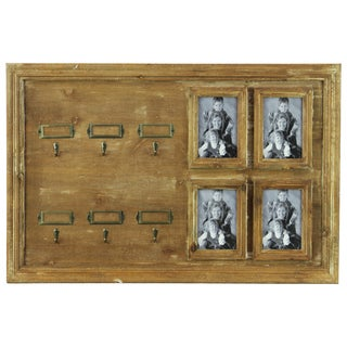Natural Wood Finish Wooden Key Hanger 4 Picture Frame Openings and 6 Hooks with 6 Card Holders Distressed