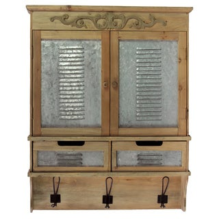 Natural Wood Finish Wooden Cabinet 2 Doors/ Drawers and 3 Hooks