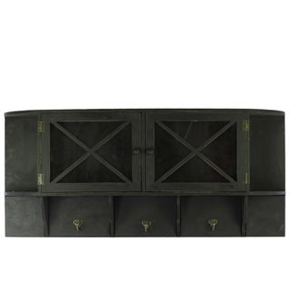 Matte Black Wooden Shelf/ Storage with 2 Doors and 3 Hooks Coated
