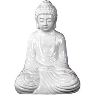 Gloss White Ceramic Meditating Buddha in Dhyana Mudra