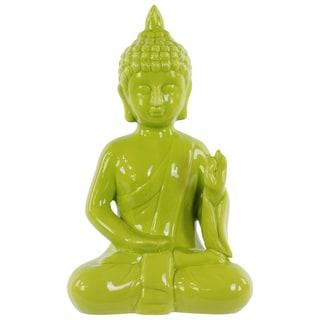 Gloss Yellow Green Ceramic Meditating Buddha in Abhaya Mudra