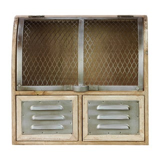 Natural Wood Finish Wood Cabinet with Screen Door and 2 Metal Door Drawers with Vents