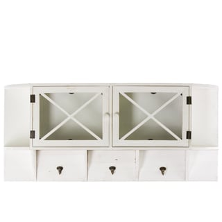 Matte White Coated Wooden Shelf/ Storage with 2 Doors and 3 Hooks
