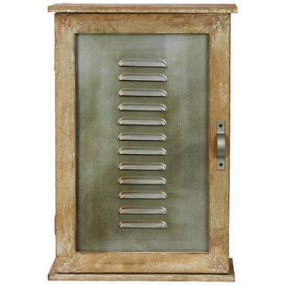 Natural Wood Finish Wood Cabinet with Vented Metal Door and Handle