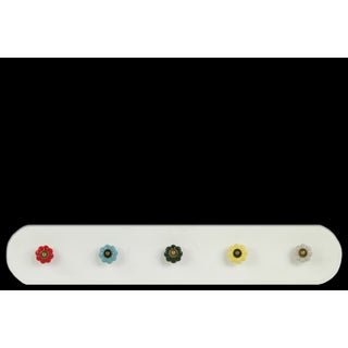 White Wooden Stadium Shaped Coat Hanger with 5 Multicolor Ceramic Knobs Large
