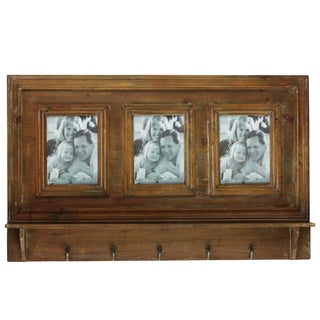 Stained Wood Finish Wooden Wall Mount Key Hanger with 3 Picture Frame Openings and 5 Hooks