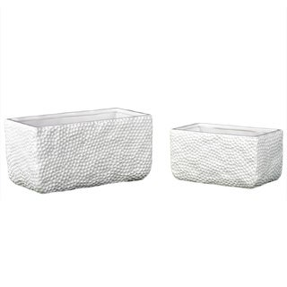 Dimpled Gloss White Ceramic Rectangular Uneven Pots (Set of 2)