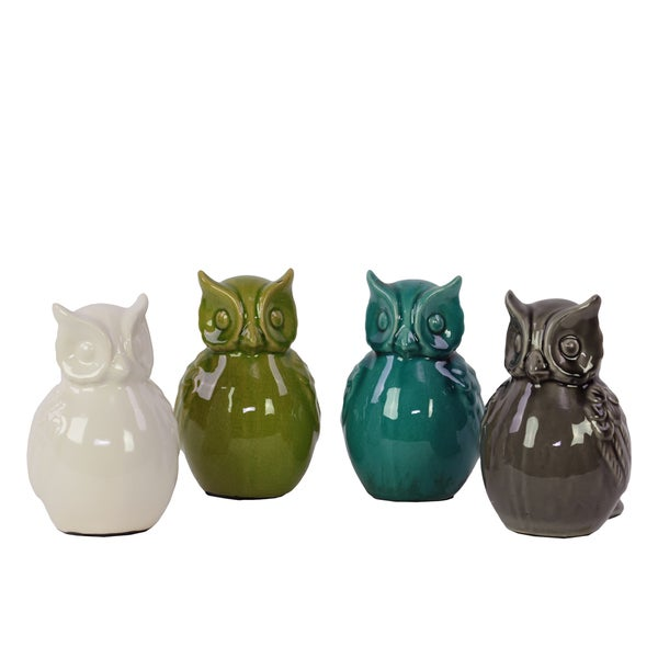 White, Olive, Teal and Wenge Ceramic Owl (Set of 4)