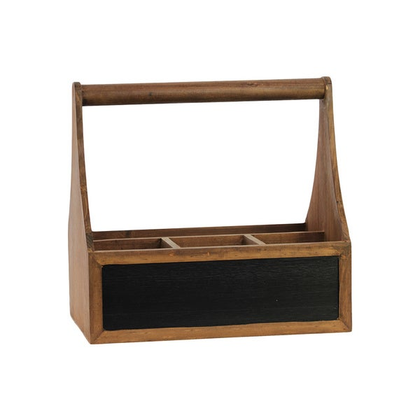 Stained Wood Finish Wooden Organizer with Handle and 4 Slots