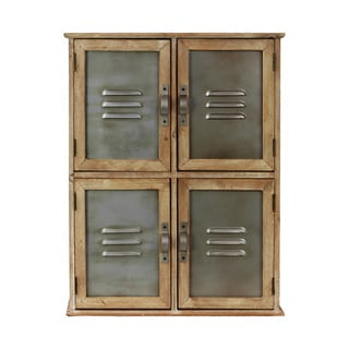 Natural Wood Cabinet with Vented Metal Doors
